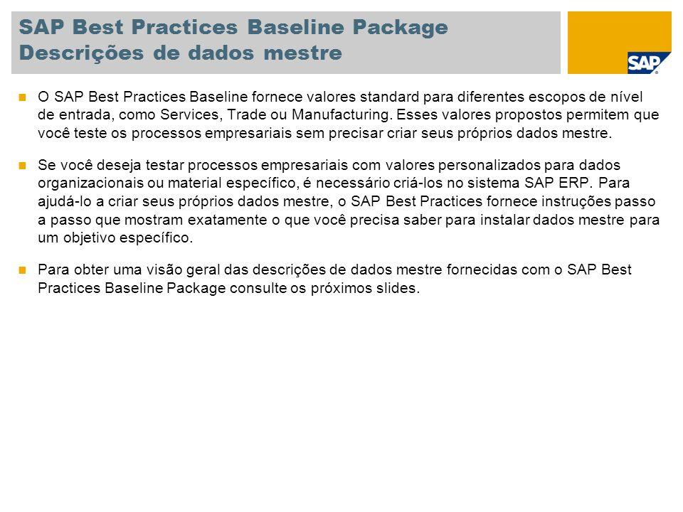 SAP Best Practices Baseline Package Descrições de dados mestre