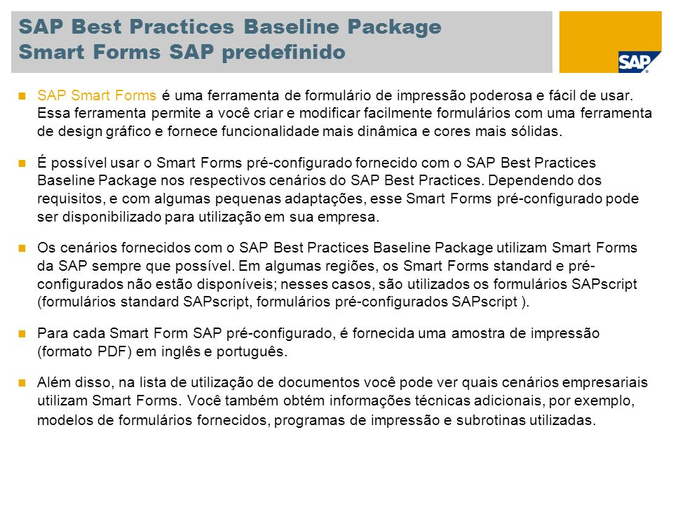 SAP Best Practices Baseline Package Smart Forms SAP predefinido