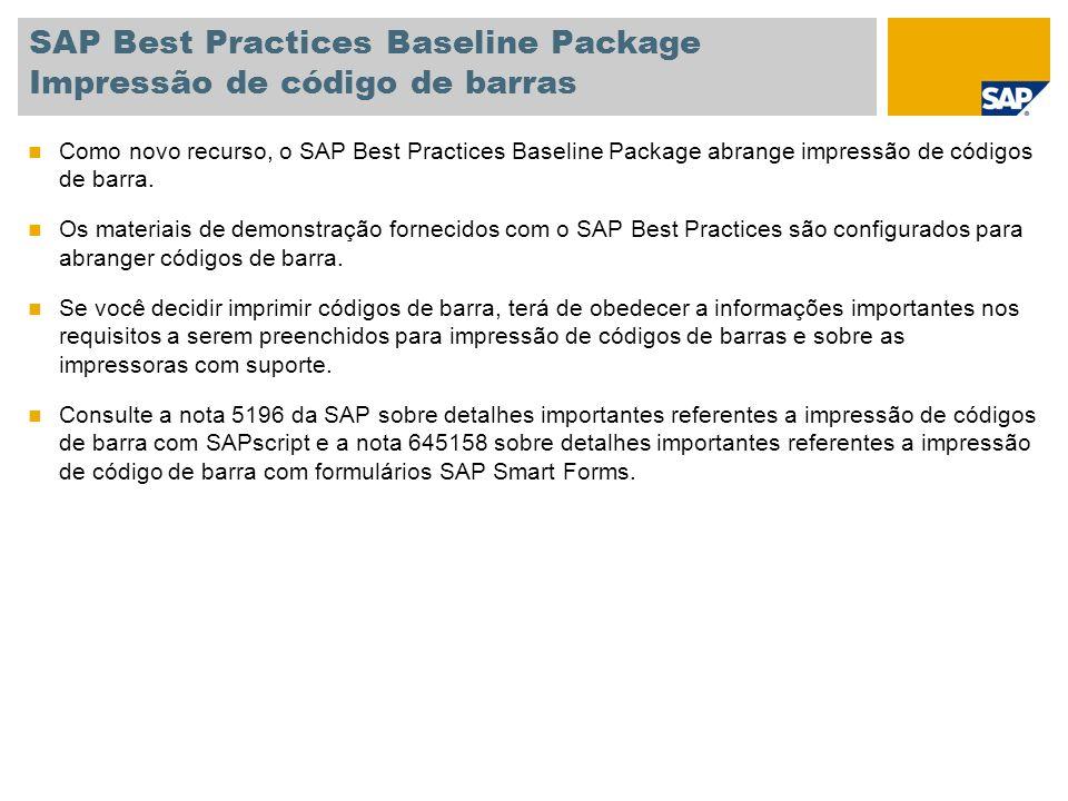 SAP Best Practices Baseline Package Impressão de código de barras