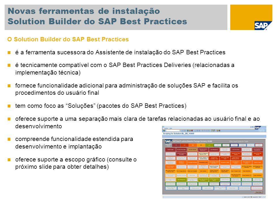 Novas ferramentas de instalação Solution Builder do SAP Best Practices