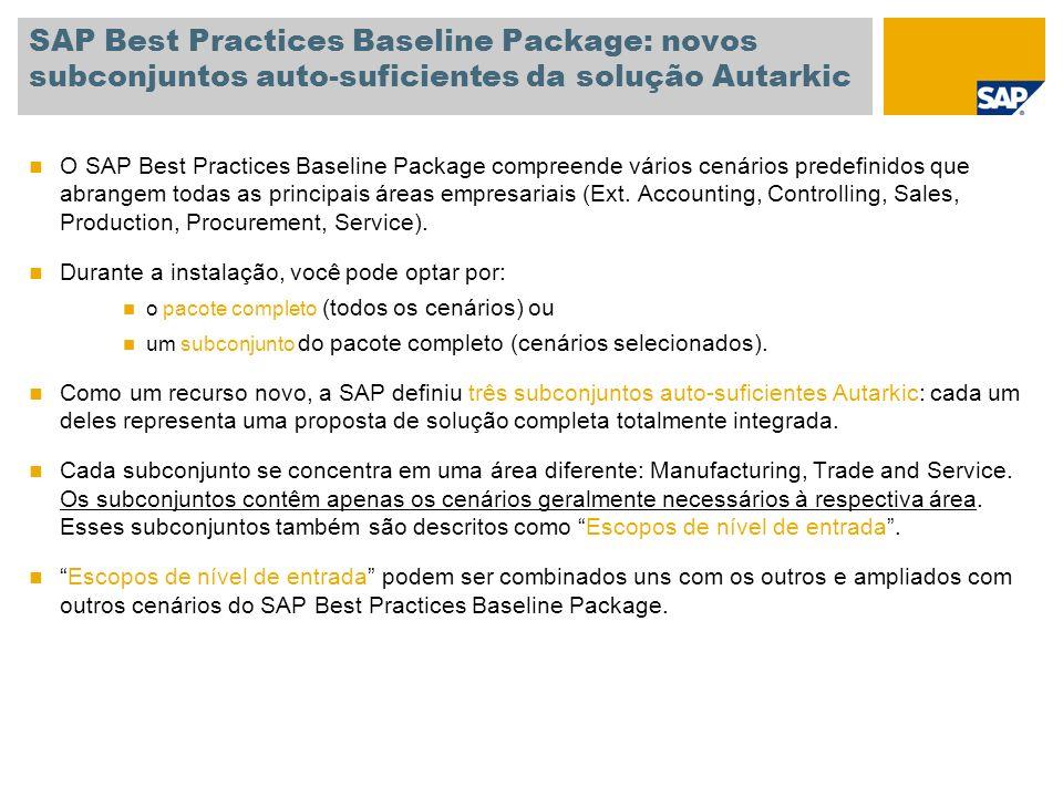 SAP Best Practices Baseline Package: novos subconjuntos auto-suficientes da solução Autarkic