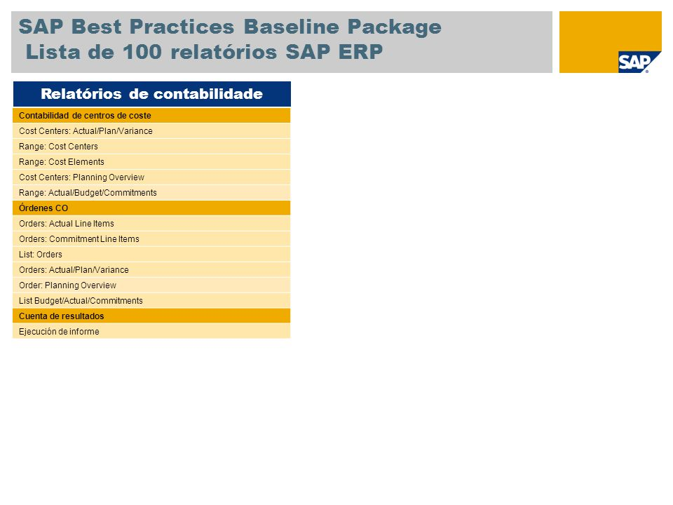SAP Best Practices Baseline Package Lista de 100 relatórios SAP ERP