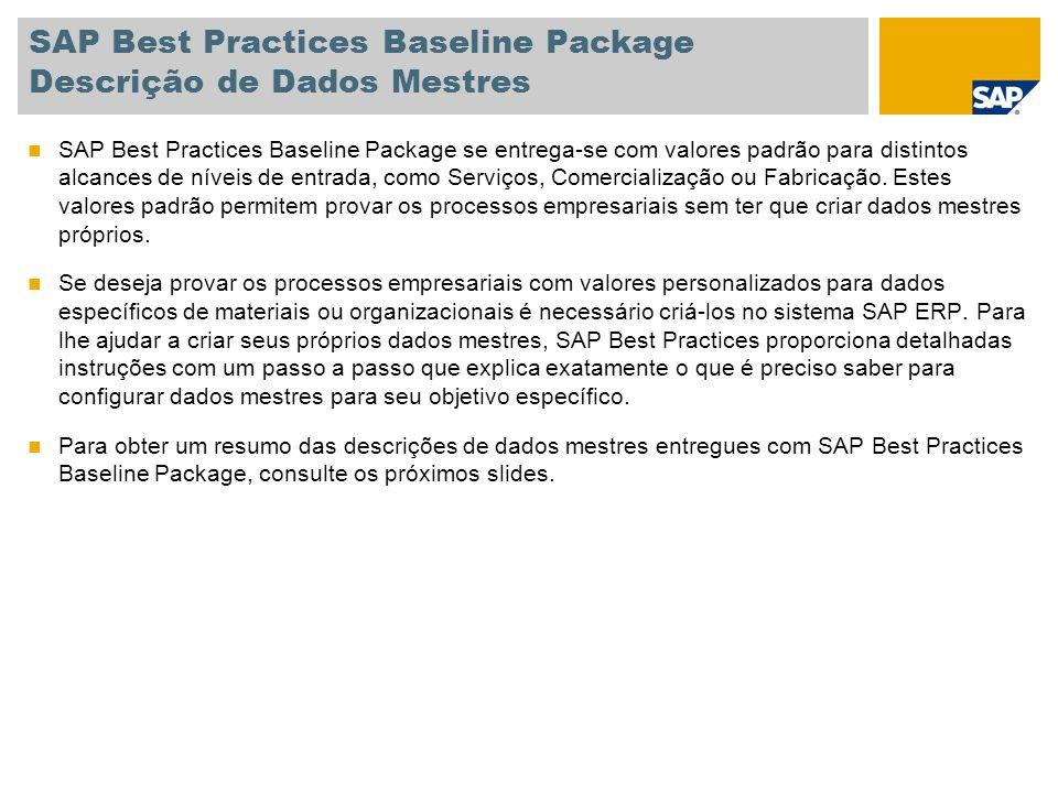 SAP Best Practices Baseline Package Descrição de Dados Mestres