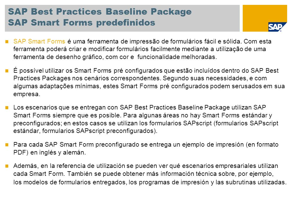 SAP Best Practices Baseline Package SAP Smart Forms predefinidos