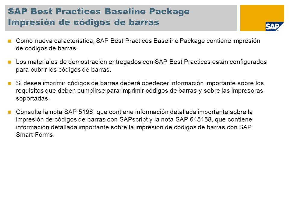SAP Best Practices Baseline Package Impresión de códigos de barras