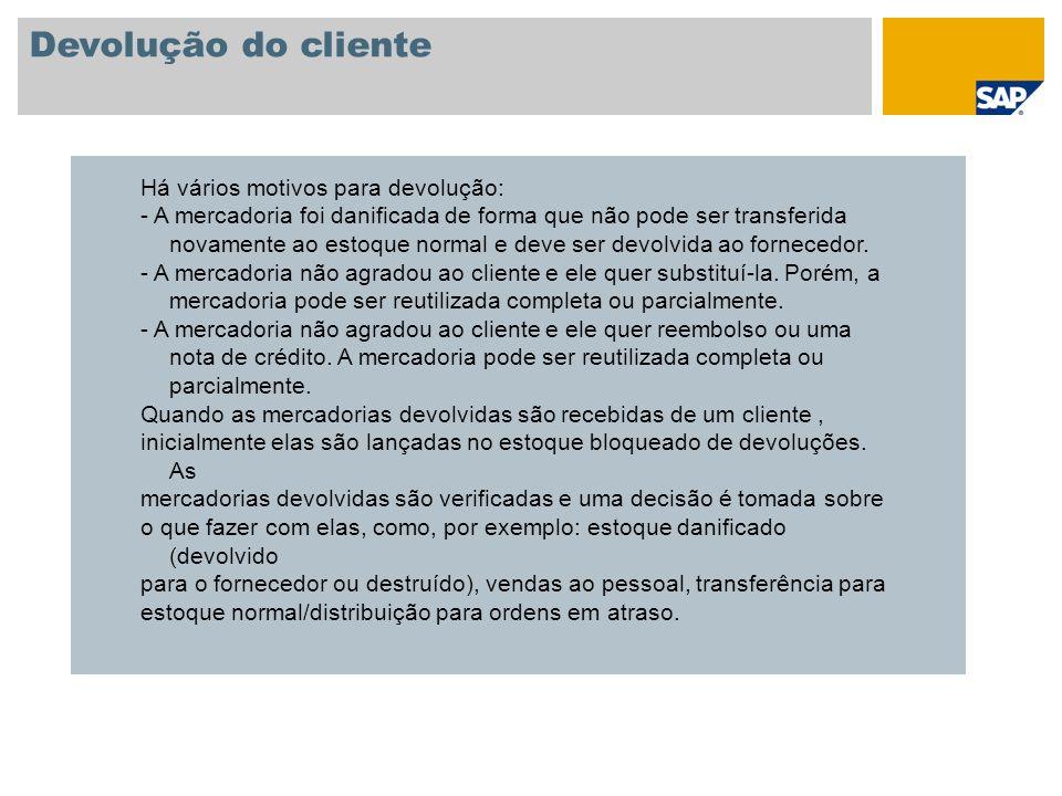 Devolução do cliente Há vários motivos para devolução: