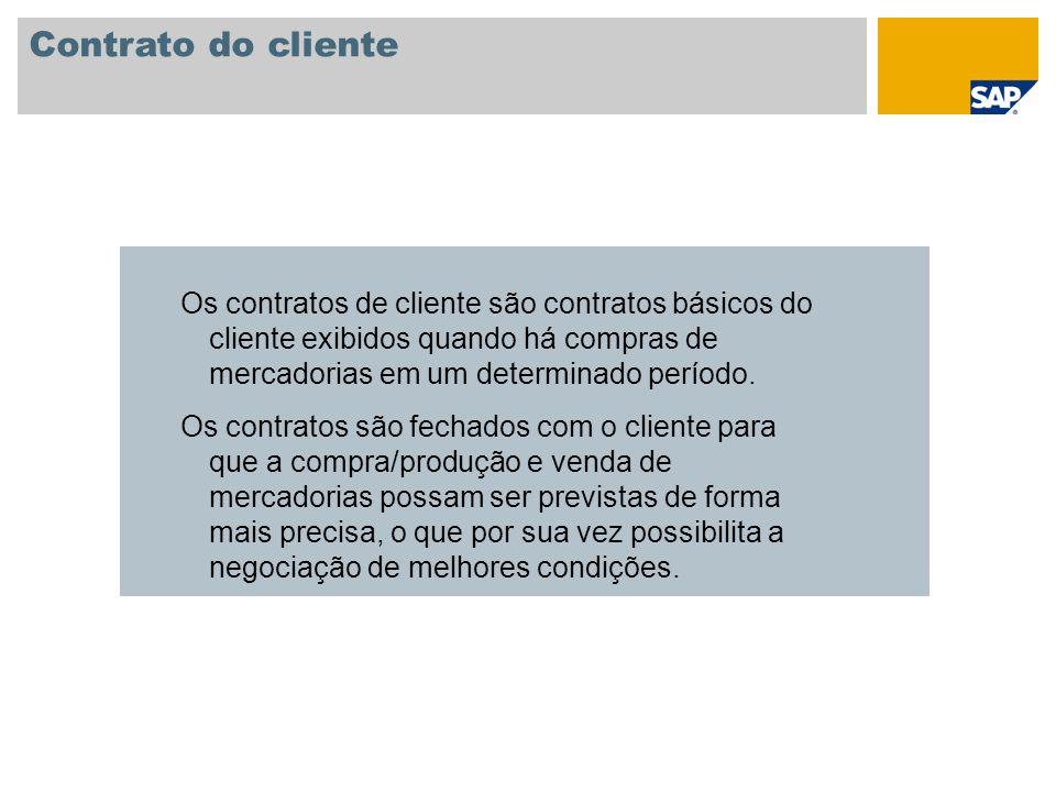 Contrato do cliente Os contratos de cliente são contratos básicos do cliente exibidos quando há compras de mercadorias em um determinado período.