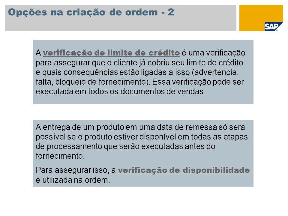 Opções na criação de ordem - 2