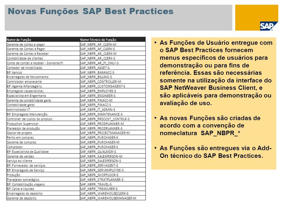 Novas Funções SAP Best Practices