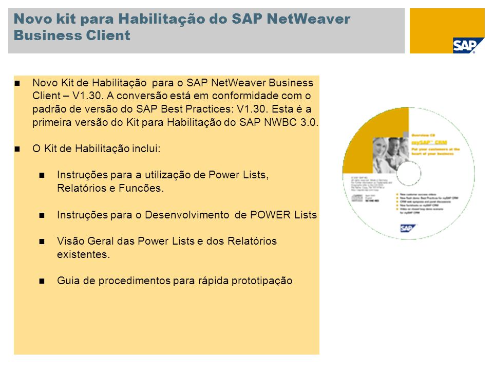 Novo kit para Habilitação do SAP NetWeaver Business Client