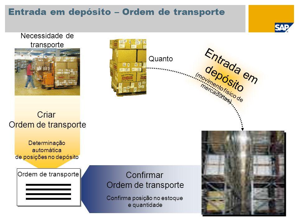 Entrada em depósito – Ordem de transporte