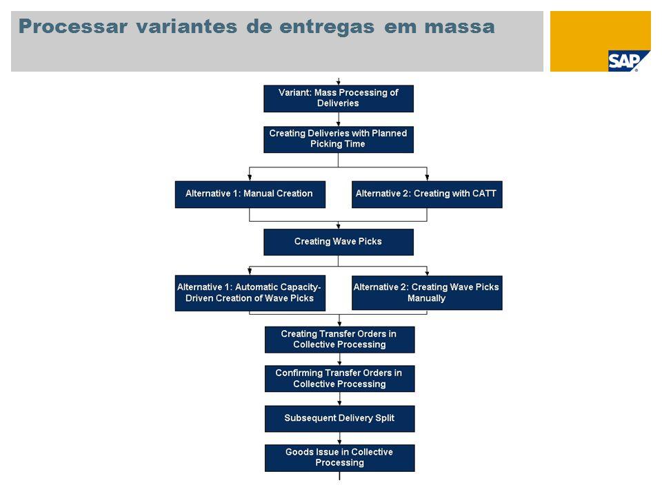 Processar variantes de entregas em massa