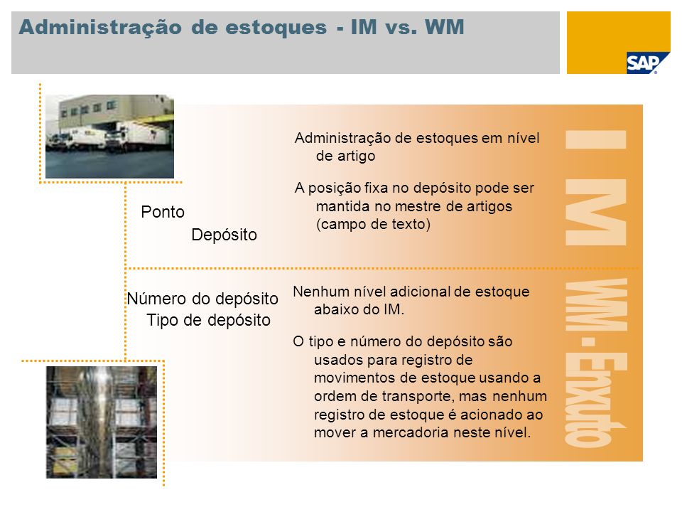 Administração de estoques - IM vs. WM