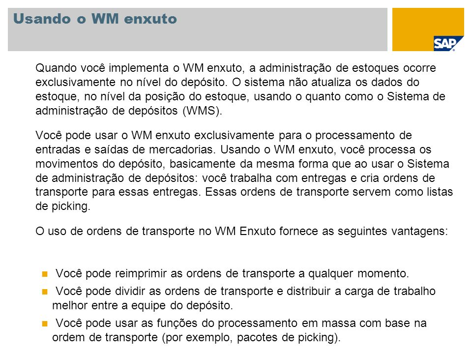 Usando o WM enxuto