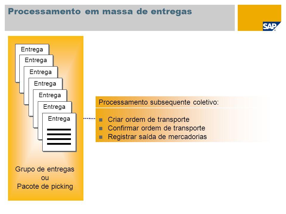 Processamento em massa de entregas