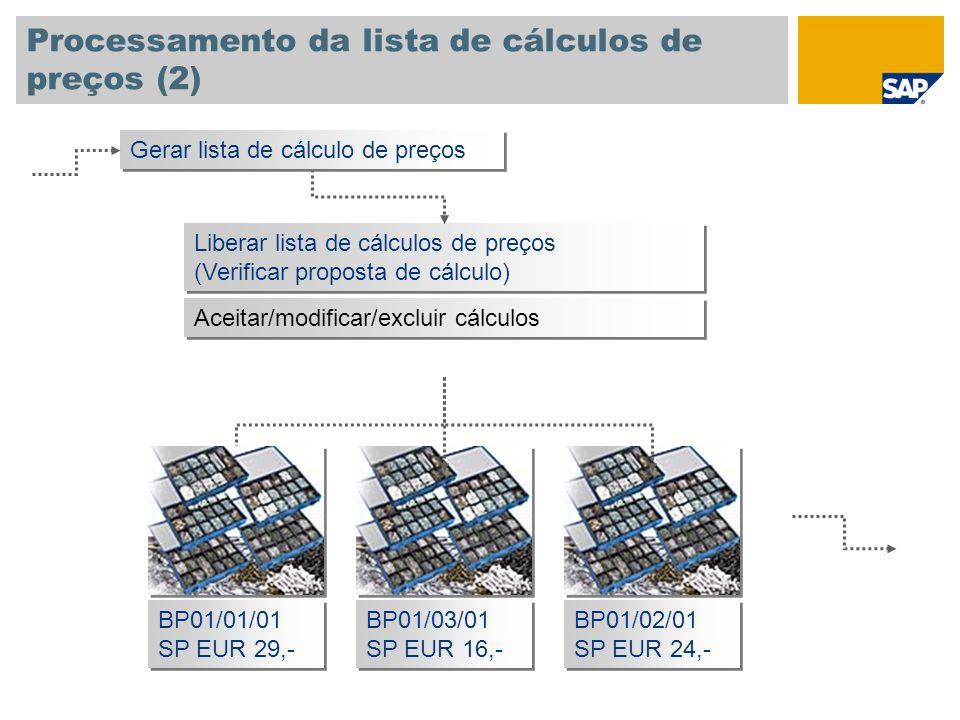Processamento da lista de cálculos de preços (2)