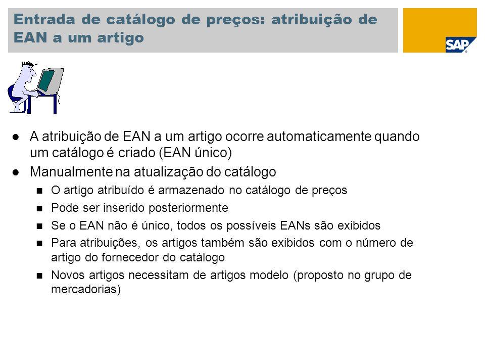 Entrada de catálogo de preços: atribuição de EAN a um artigo