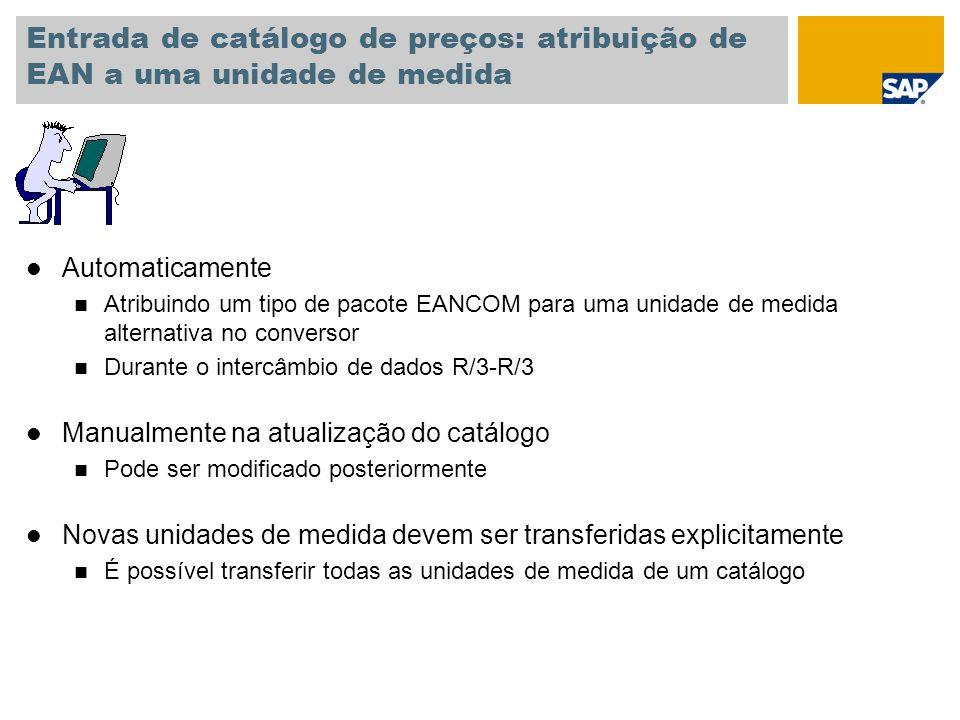Entrada de catálogo de preços: atribuição de EAN a uma unidade de medida
