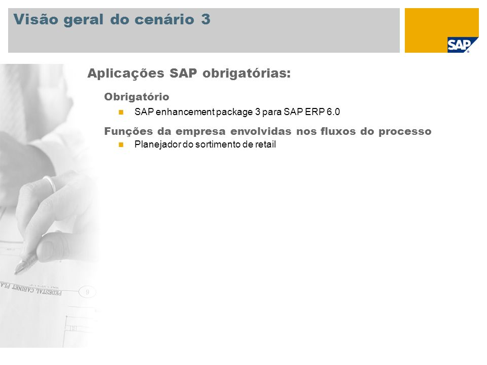 Visão geral do cenário 3 Aplicações SAP obrigatórias: Obrigatório