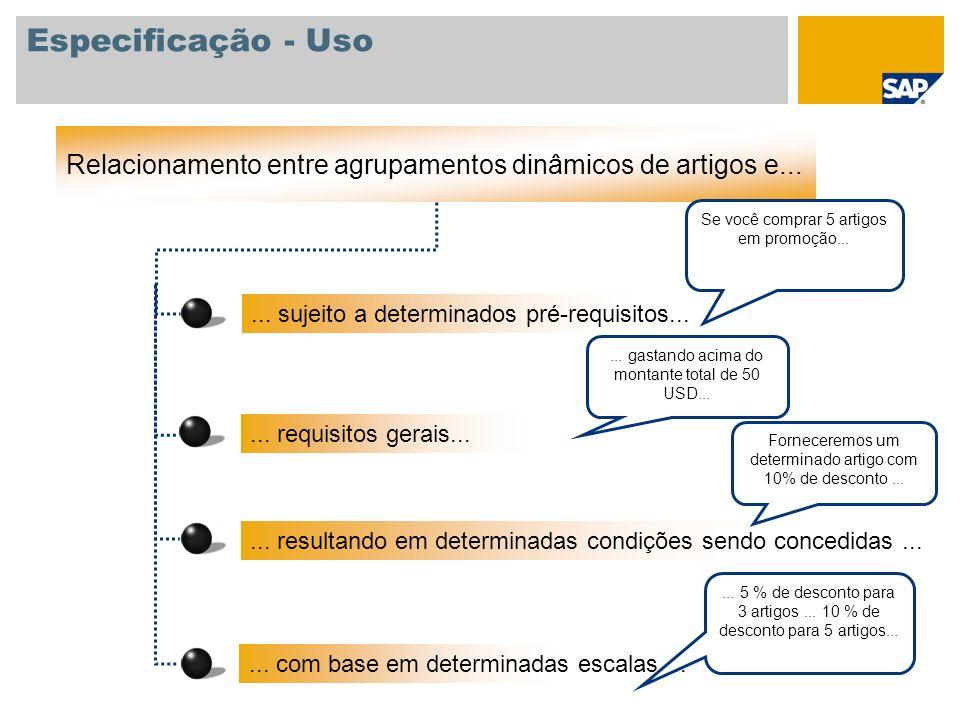 Especificação - Uso Relacionamento entre agrupamentos dinâmicos de artigos e... Se você comprar 5 artigos.