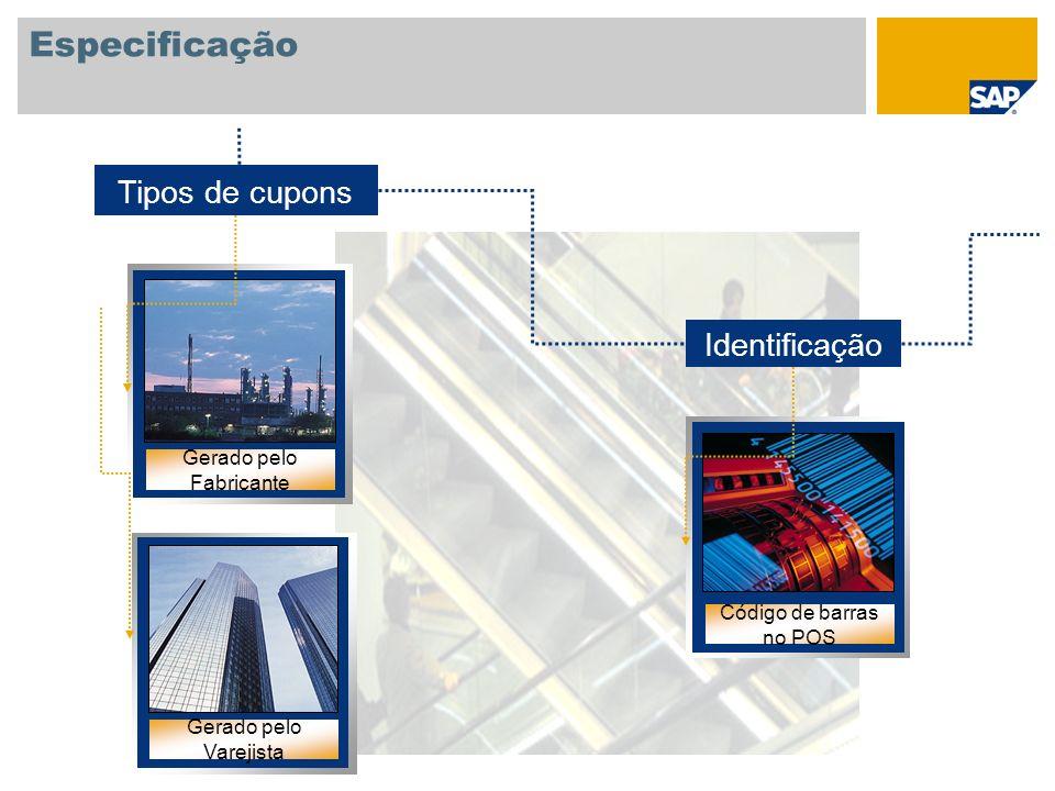 Especificação Tipos de cupons Identificação Gerado pelo Fabricante