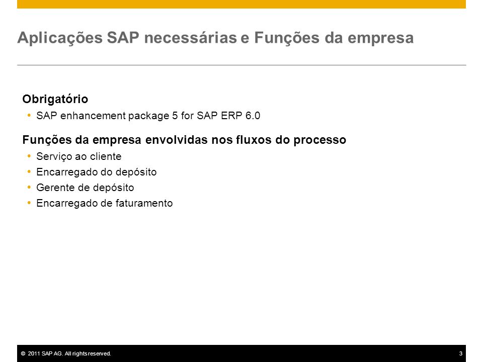 Aplicações SAP necessárias e Funções da empresa