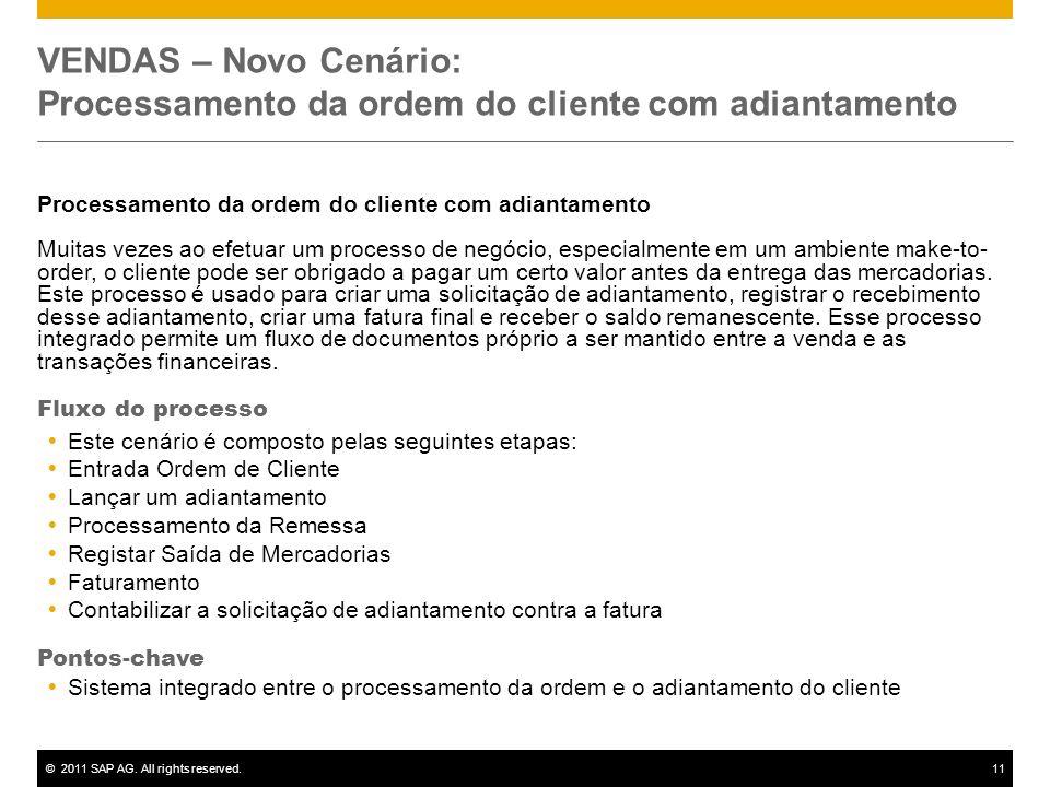 VENDAS – Novo Cenário: Processamento da ordem do cliente com adiantamento