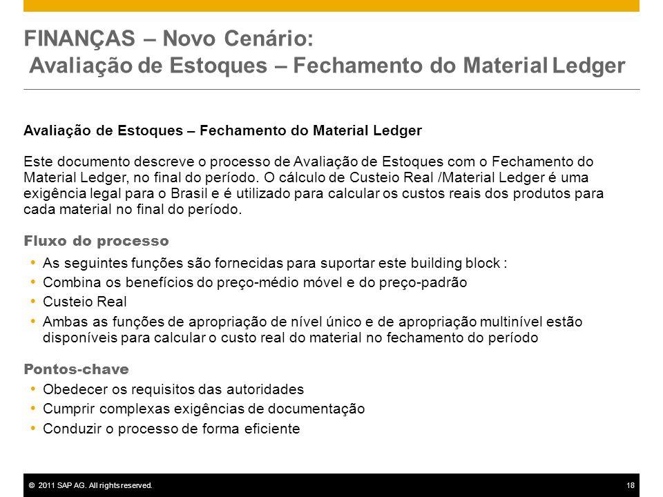 FINANÇAS – Novo Cenário: Avaliação de Estoques – Fechamento do Material Ledger