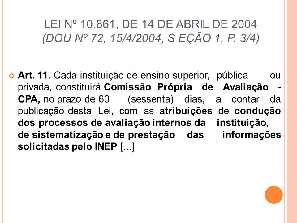 LEI Nº 10.861, DE 14 DE ABRIL DE 2004 (DOU Nº 72, 15/4/2004, S EÇÃO 1, P. 3/4)