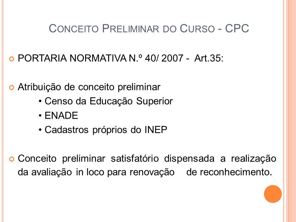 Conceito Preliminar do Curso - CPC