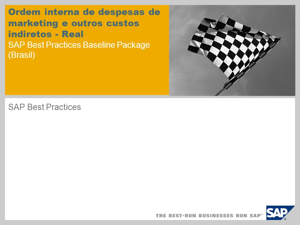 Ordem interna de despesas de marketing e outros custos indiretos - Real SAP Best Practices Baseline Package (Brasil)