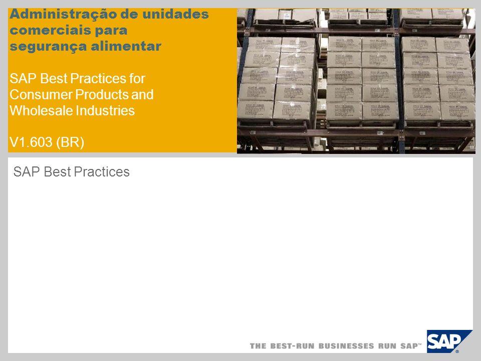 Administração de unidades comerciais para segurança alimentar SAP Best Practices for Consumer Products and Wholesale Industries V1.603 (BR)
