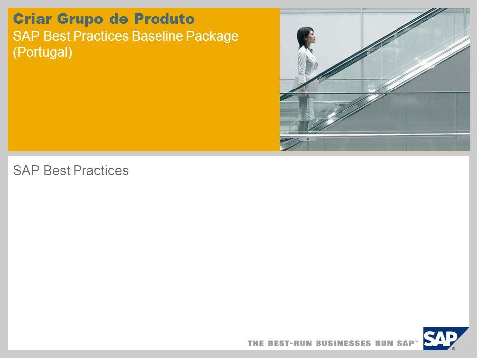 Criar Grupo de Produto SAP Best Practices Baseline Package (Portugal)