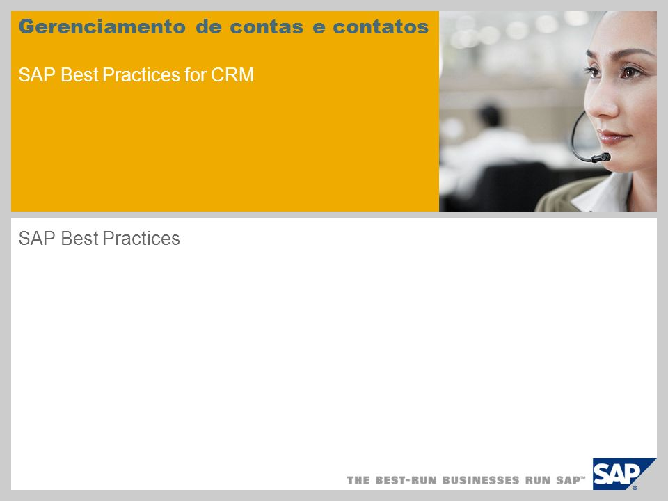 Gerenciamento de contas e contatos SAP Best Practices for CRM