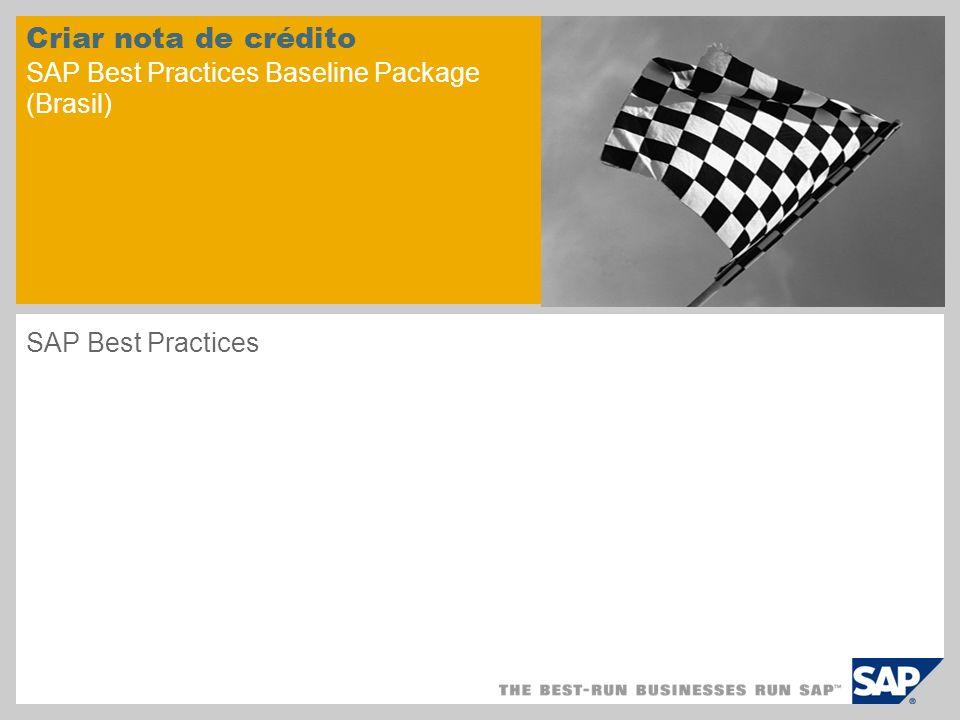 Criar nota de crédito SAP Best Practices Baseline Package (Brasil)