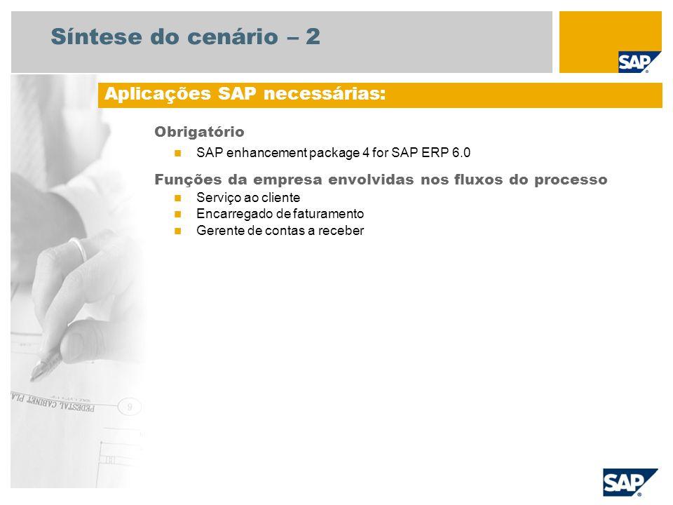 Síntese do cenário – 2 Aplicações SAP necessárias: Obrigatório