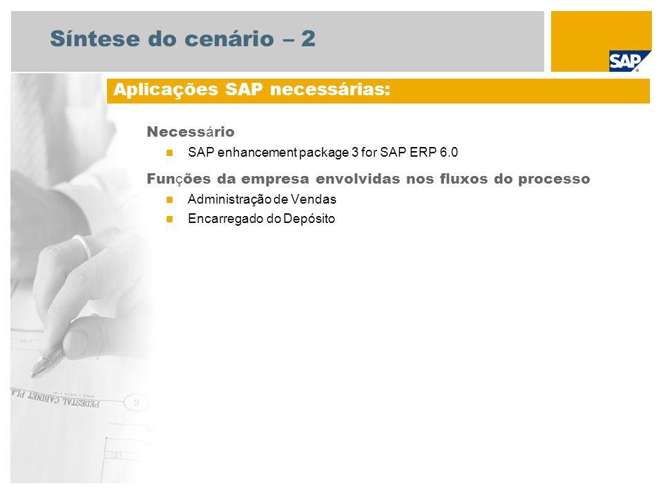 Síntese do cenário – 2 Aplicações SAP necessárias: Necessário