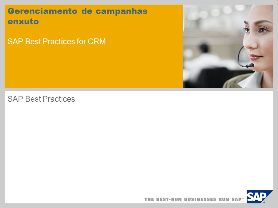 Gerenciamento de campanhas enxuto SAP Best Practices for CRM