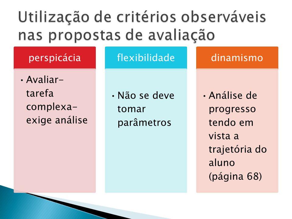 Utilização de critérios observáveis nas propostas de avaliação