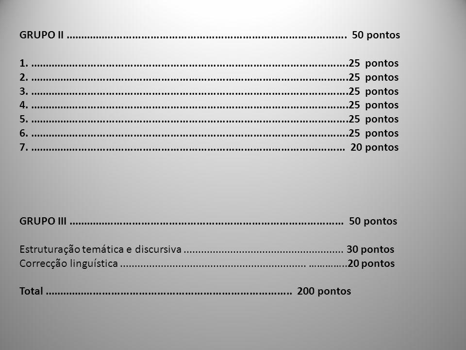 GRUPO II ............................................................................................ 50 pontos