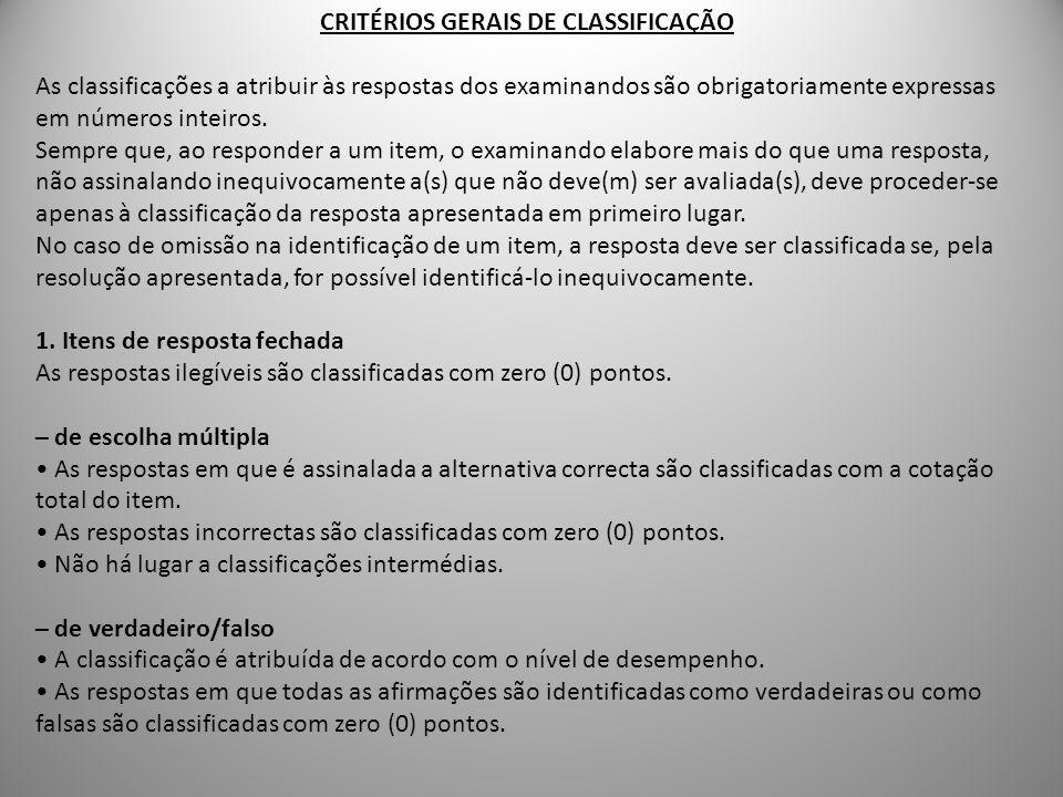 CRITÉRIOS GERAIS DE CLASSIFICAÇÃO