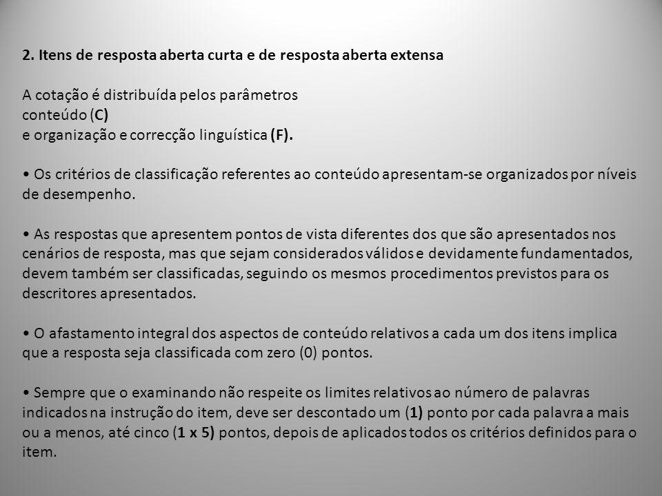 2. Itens de resposta aberta curta e de resposta aberta extensa