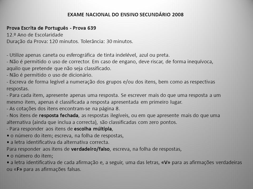 EXAME NACIONAL DO ENSINO SECUNDÁRIO 2008