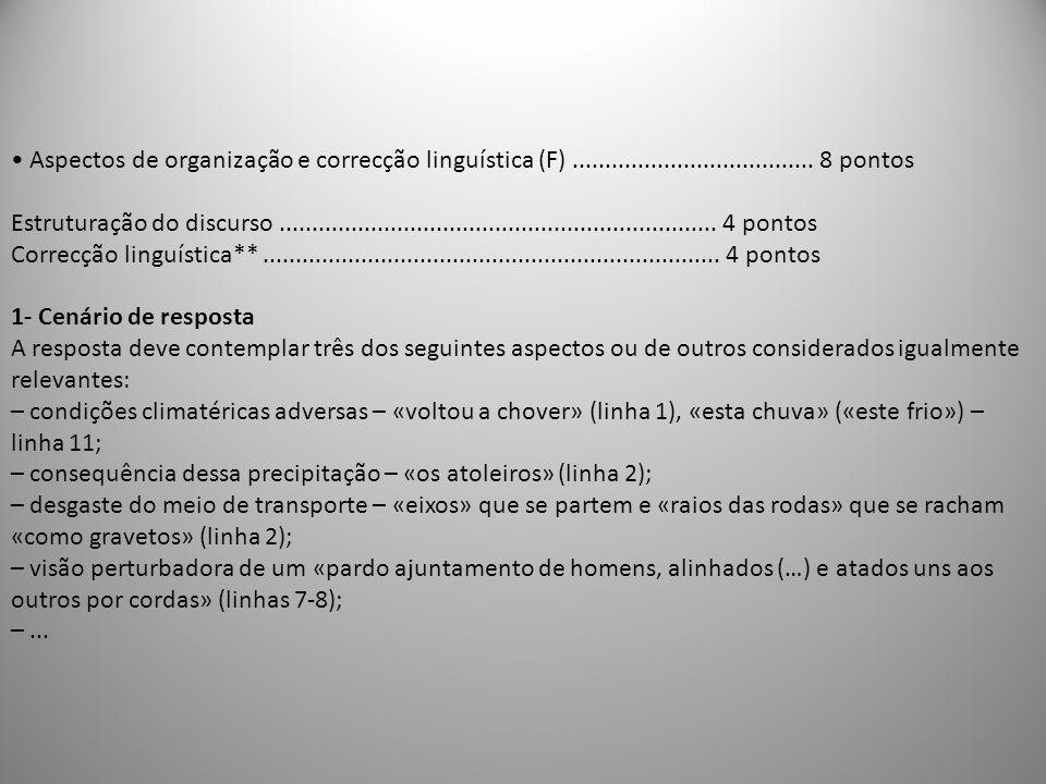• Aspectos de organização e correcção linguística (F) ..................................... 8 pontos