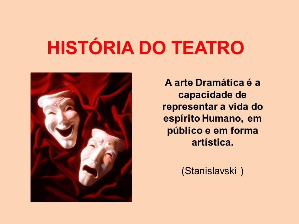 HISTÓRIA DO TEATRO A arte Dramática é a capacidade de representar a vida do espírito Humano, em público e em forma artística.