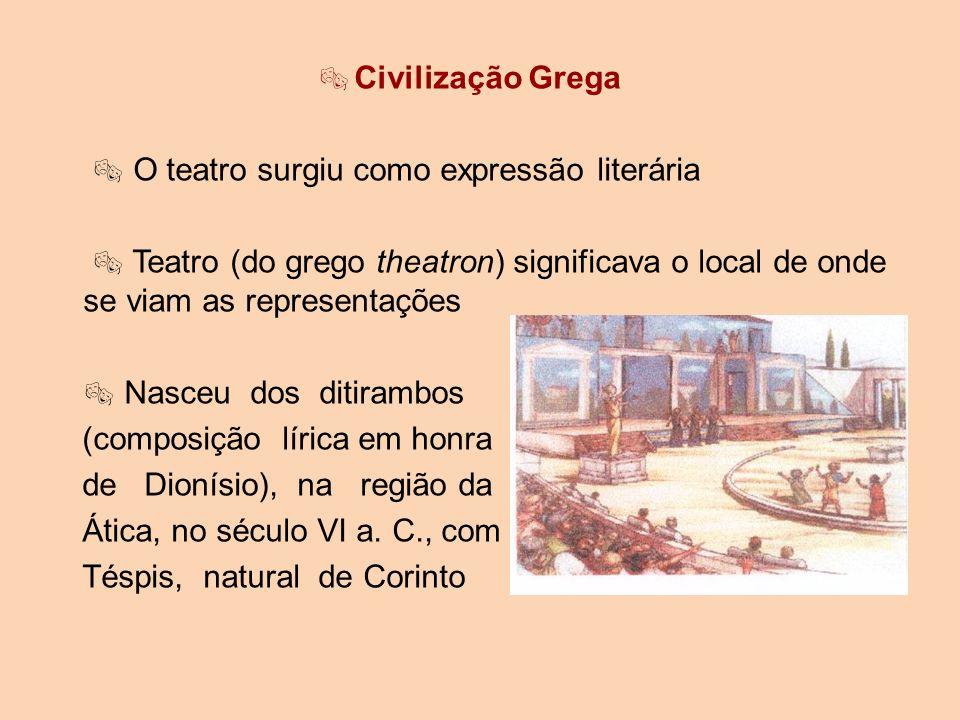 Civilização Grega  O teatro surgiu como expressão literária.  Teatro (do grego theatron) significava o local de onde se viam as representações.