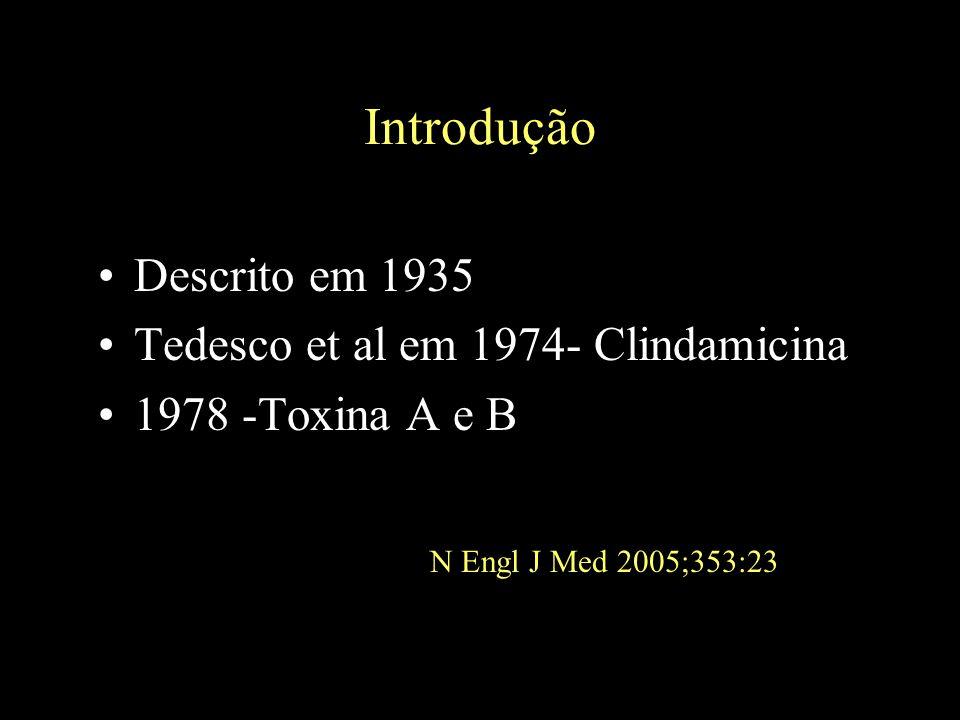 Introdução Descrito em 1935 Tedesco et al em 1974- Clindamicina