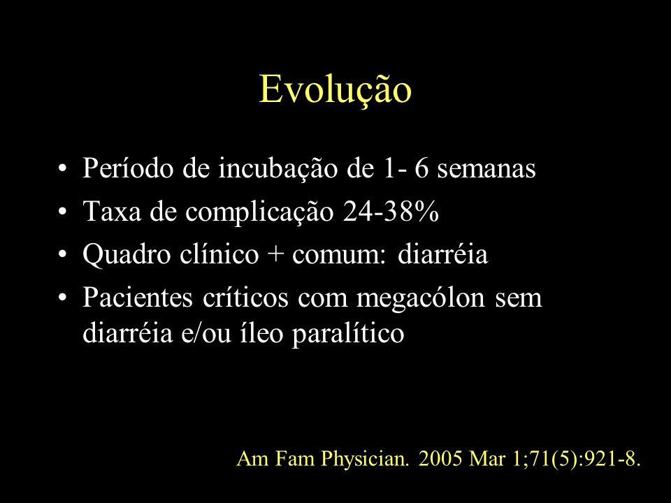 Evolução Período de incubação de 1- 6 semanas