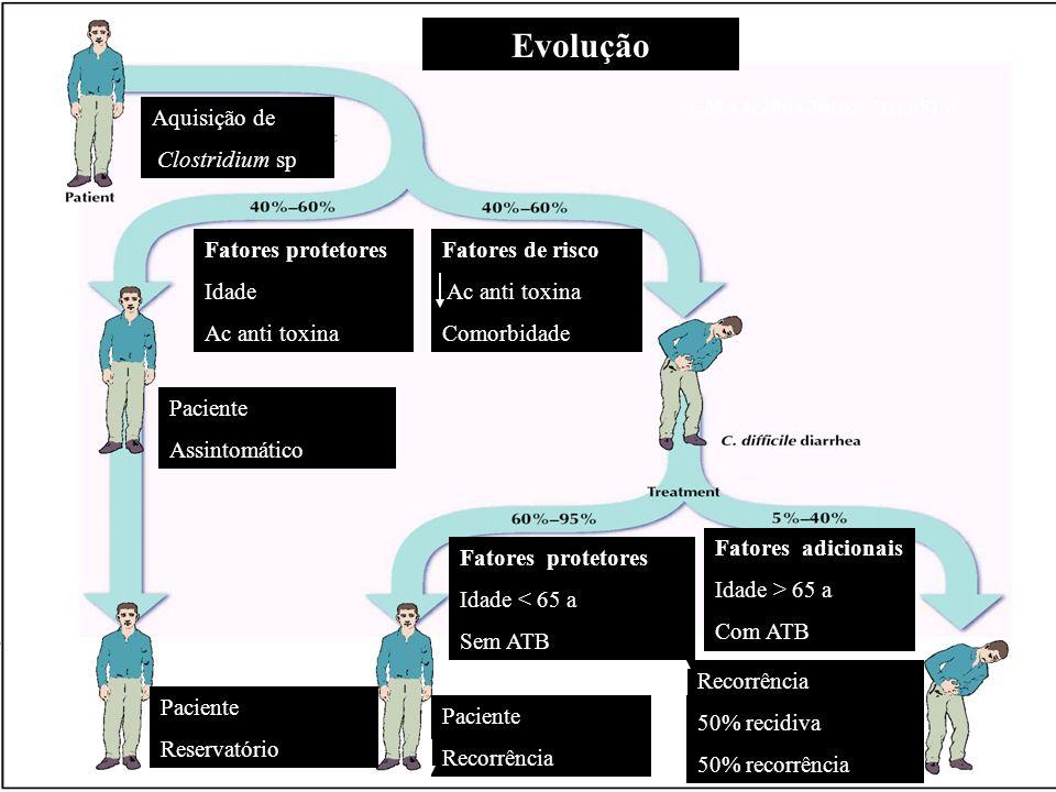 Evolução Aquisição de Clostridium sp Fatores protetores Idade