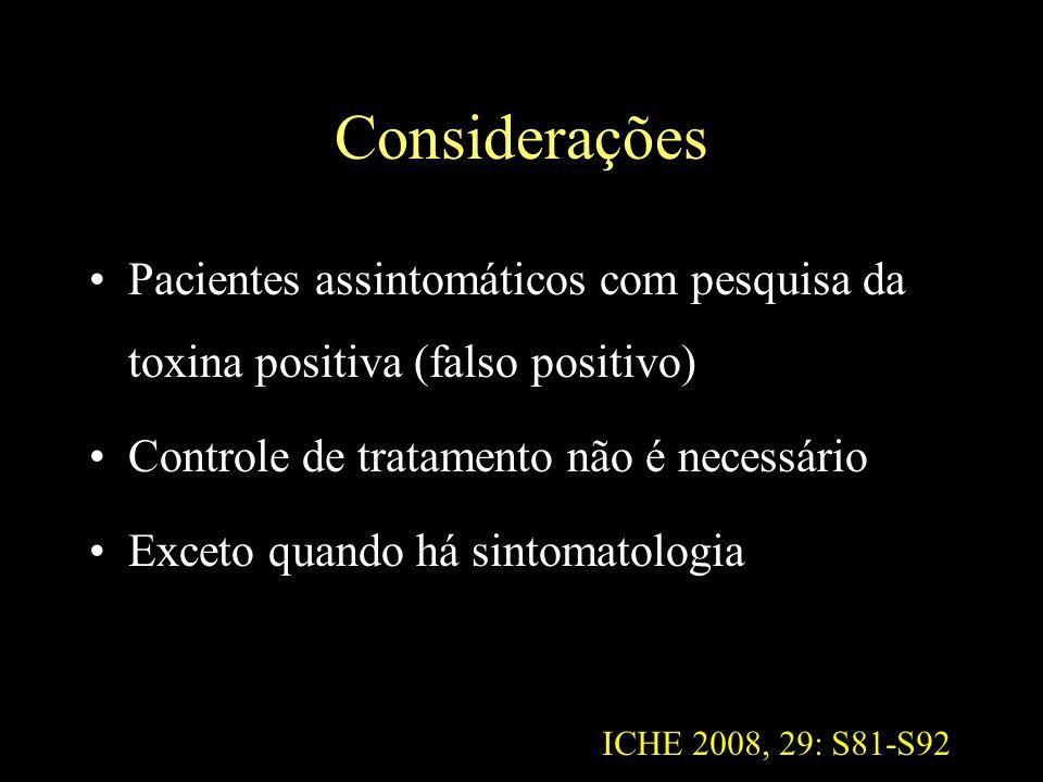 Considerações Pacientes assintomáticos com pesquisa da toxina positiva (falso positivo) Controle de tratamento não é necessário.